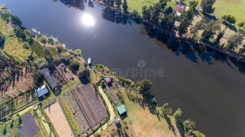 Xochimilco, zone umide famose da Città del Messico, vista aerea fotografia stock