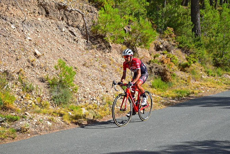 Xorret De Cati Team Trek La Vuelta España. The Cyclist taking on the famous 20% hill Xorret De Cati in the 2017 La Vuelta Espana bike race royalty free stock photography
