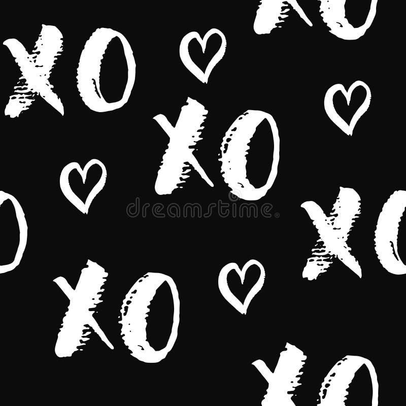 XOXO-borstebokstäver undertecknar den sömlösa modellen, Grungecalligraphiv c kramar och kyssuttrycket, symbol för internetslangfö royaltyfri illustrationer