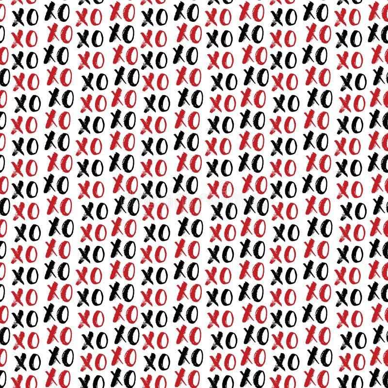 XOXO-borstebokstäver undertecknar den sömlösa modellen, Grungecalligraphiv c kramar och kyssuttrycket, symbol för internetslangfö stock illustrationer
