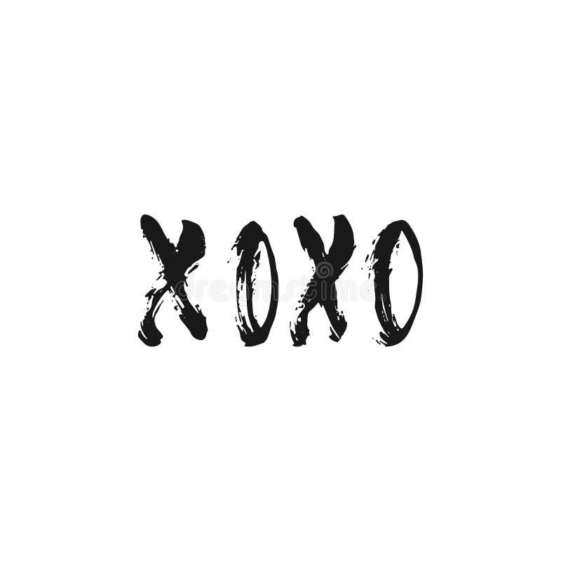 XOXO - hand dragit bokstäveruttryck för valentindagen som isoleras på den vita bakgrunden Rolig borstefärgpulverinskrift för stock illustrationer