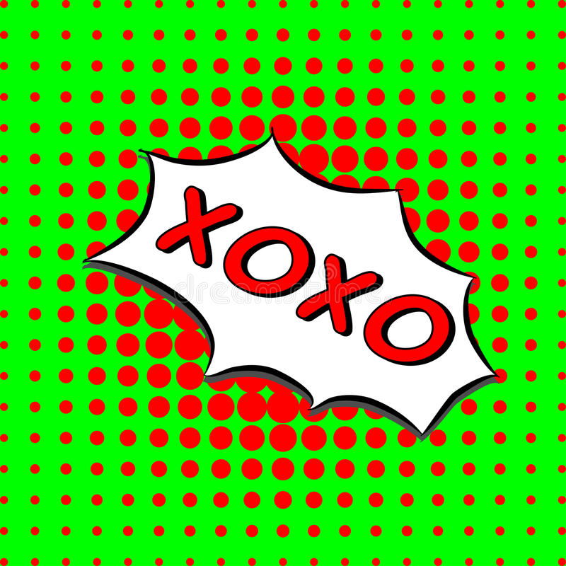 Xoxo - komisk text, stil för popkonst gräsplan och röd prickig rastrerad bakgrund Vektorförälskelse kramar och kysser meddelandet stock illustrationer
