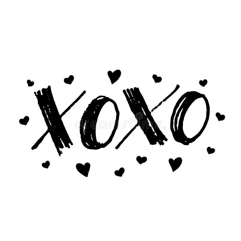 XOXO kram- och kysskort för valentindag Hand dragen markörbokstäver med hjärtor Vektorillustrationtext stock illustrationer