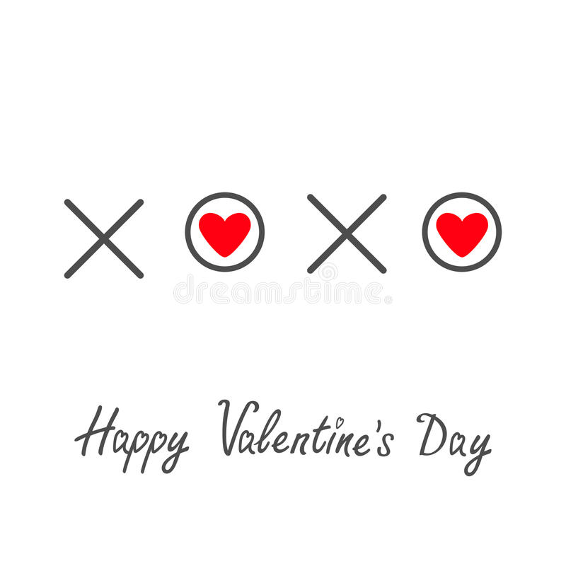 Xoxo kramar och kysser bokstäver för text för ordet för hjärta för förälskelse för teckensymbolfläcken röd lyckliga valentiner fö royaltyfri illustrationer