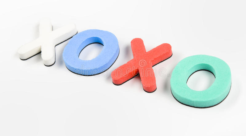Xoxo love. Colorful letters on white background showing xoxo; love stock photo