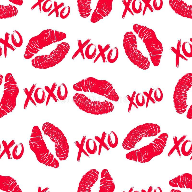 XOXO och läppstift kysser den sömlösa modellen stock illustrationer