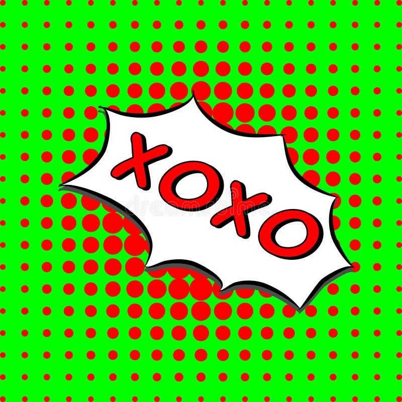Xoxo - testo comico, stile di Pop art fondo di semitono verde e rosso punteggiato L'amore di vettore abbraccia e bacia il messagg illustrazione di stock