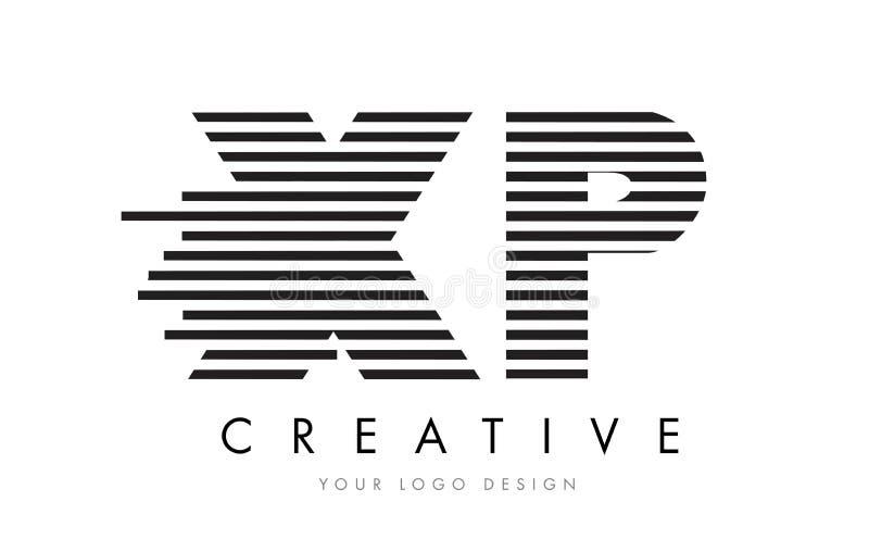 XP X P Zebra Letter Logo Design with Black and White Stripes royalty free illustration