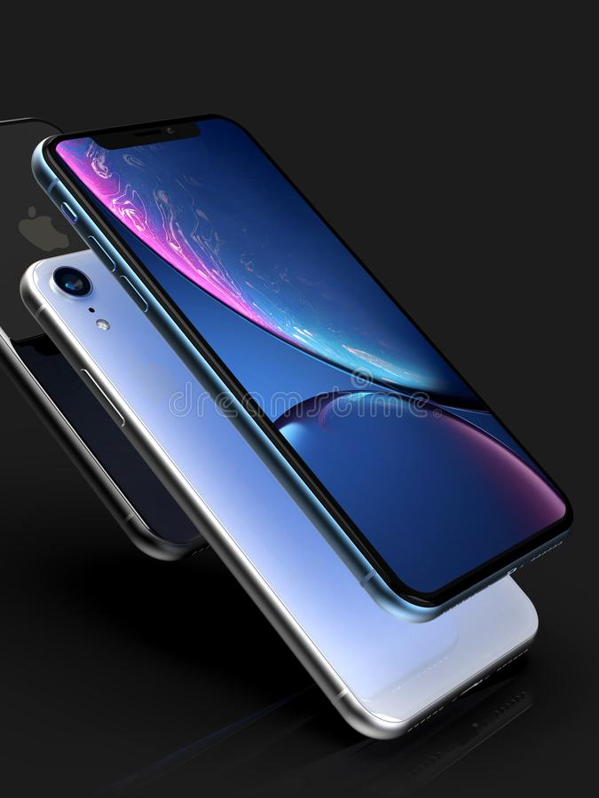 3 XR iPhone błękit srebro i przestrzeń Popielaci mądrze telefony na czerni ilustracja wektor