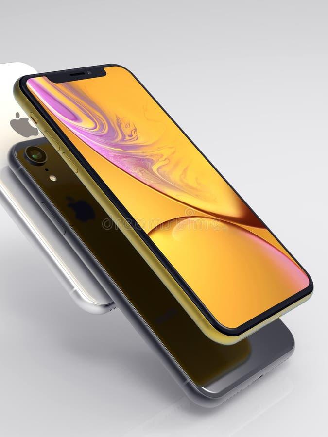 3 XR iPhone kolor żółty, srebro i przestrzeń Popielaci mądrze telefony,
