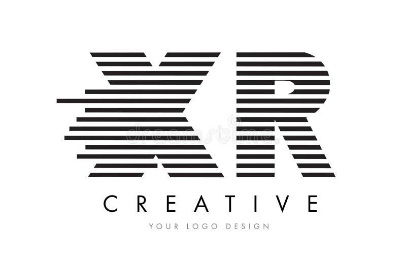 XR X R Zebra Letter Logo Design with Black and White Stripes vector illustration