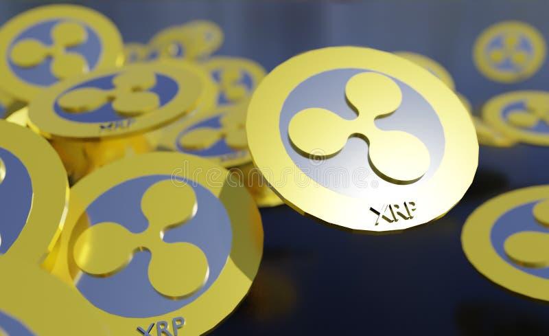 XRP波纹硬币,Blockchain概念 3d翻译 皇族释放例证