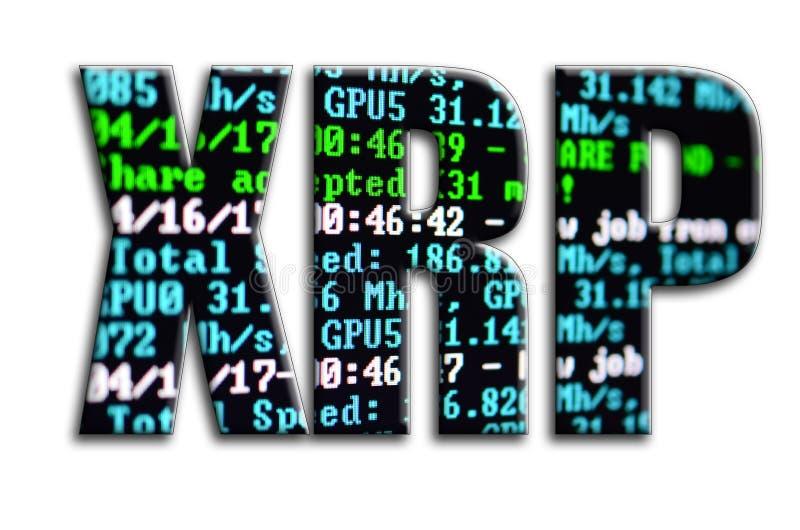 xrp A inscrição tem uma textura da fotografia, que descreve a tela de mineração do software do cryptocurrency ilustração royalty free