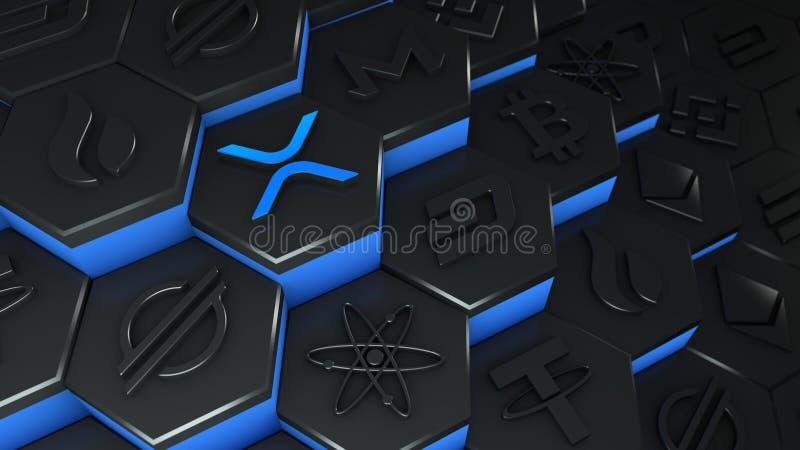 XRP Rimpel munt Abstract cryptocurrency met blockchain network connectie in blockchain conceptual 3d illustratie vector illustratie