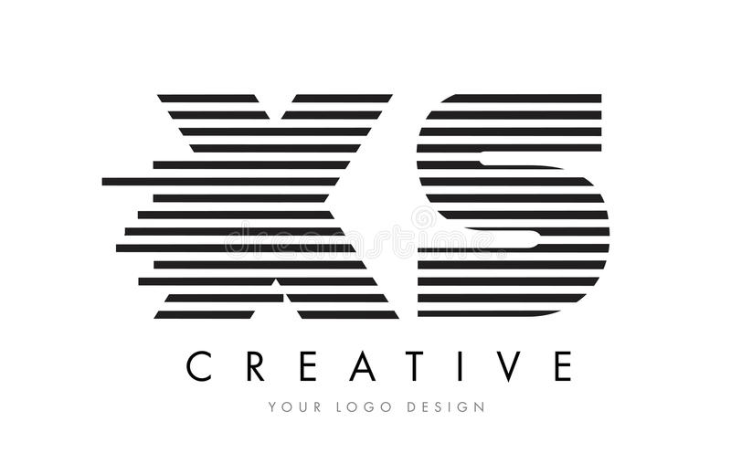 XS X S Zebra Letter Logo Design with Black and White Stripes stock illustration