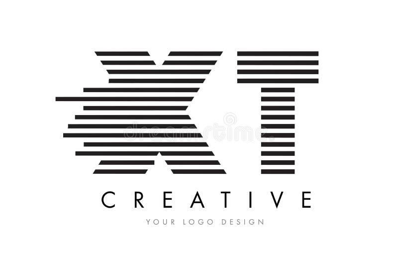XT X T Zebra Letter Logo Design with Black and White Stripes royalty free illustration
