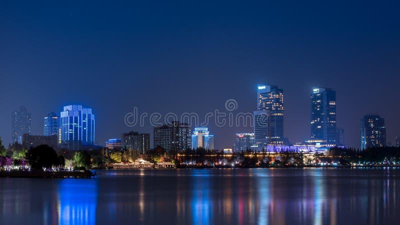 Night view of XuanWu Lake Park, Nanjing, Jiangsu province, China stock image