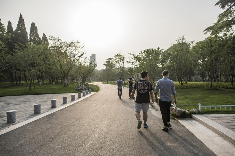 Tourists in Xuanwu Lake Park stock photos