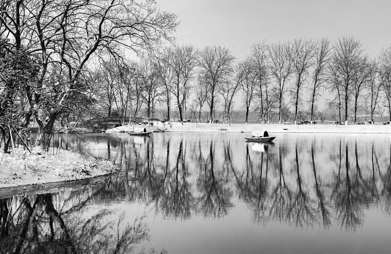 Xuanwumeer na de sneeuw stock fotografie
