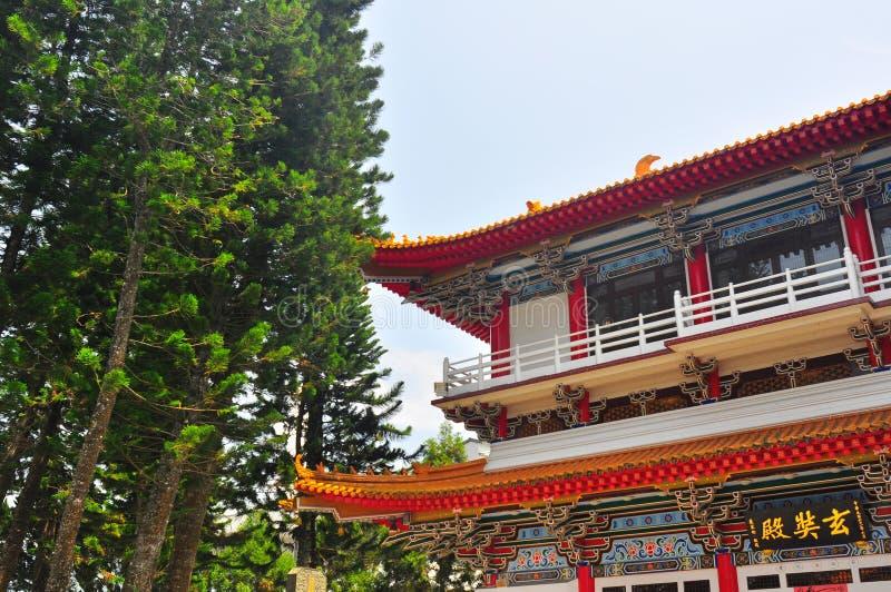 Xuanzang tempel i solmåne sjön fotografering för bildbyråer