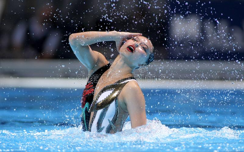 Xuechen Huang of China. During a Solo Synchronised Swimming event of World Championship BCN2013 on July 24, 2013 in Barcelona Spain stock images