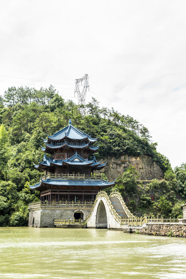 Xuefeng & Yanshui Palace and arch bridge stock photos