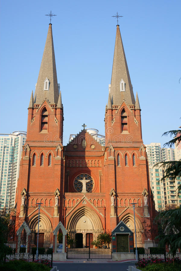 Xujiahui Cathedral in Vertical composition stock photography