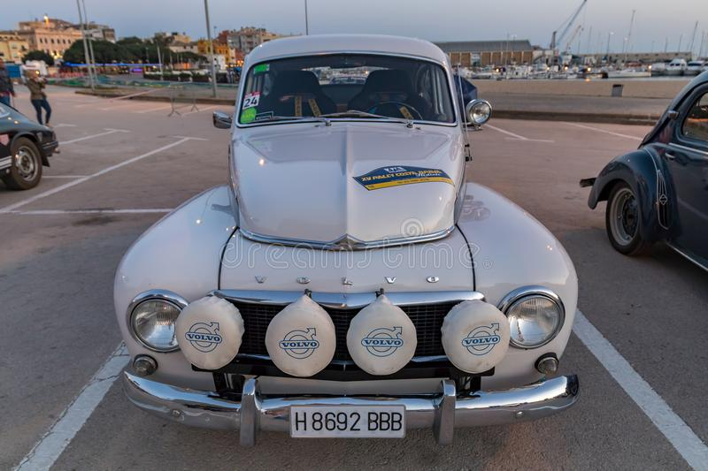 XV Rally Costa Brava Historic car race in a small town Palamos in Catalonia. 04. 19. 2018 Spain, town Palamos stock images