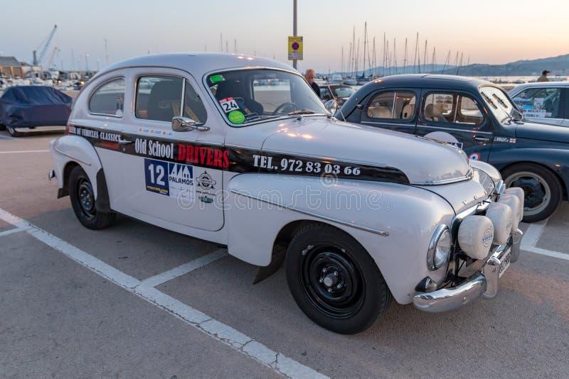 XV Sammlungs-Costa Brava Historic-Autorennen in einer Kleinstadt Palamos in Katalonien 04 19 2018 Spanien, Stadt Palamos stockbild