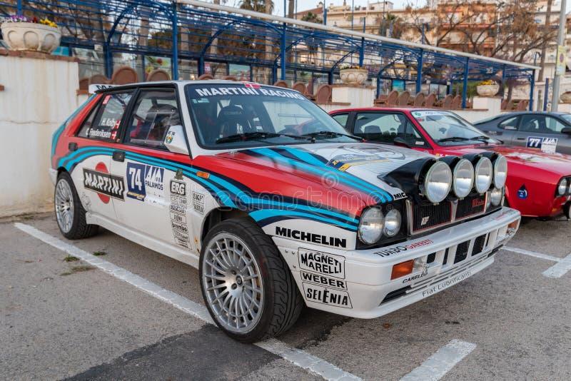 XV Zlotnego Costa Brava Historyczna samochodowa rasa w miasteczku Palamos w Catalonia 04 19 2018 Hiszpania, grodzki Palamos zdjęcia stock