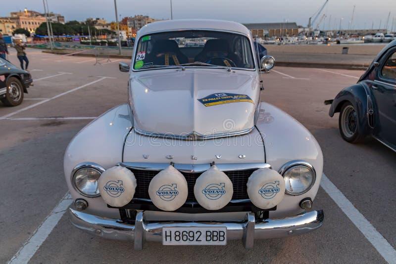 XV Zlotnego Costa Brava Historyczna samochodowa rasa w miasteczku Palamos w Catalonia 04 19 2018 Hiszpania, grodzki Palamos obrazy stock