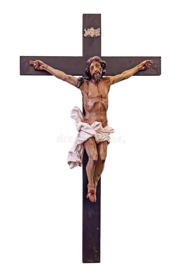 xviii wiek Barokowy krucyfiks w naturalny wielkościowym ciie out, obraz royalty free