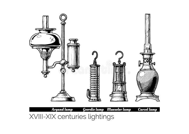 XVIII, XIX wieków lightings - ilustracji