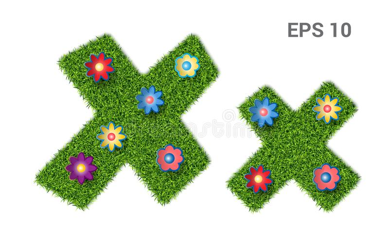 Letter Xx with a texture of grass and flowers. Xx - capital and capital letters of the alphabet with a texture of grass. Moorish lawn with flowers. Isolated on vector illustration