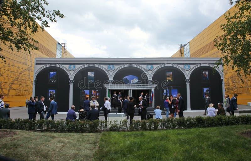 XX forum economico internazionale di San Pietroburgo (SPIEF Russia 2016) vista esterna del padiglione dell'Italia fotografie stock libere da diritti