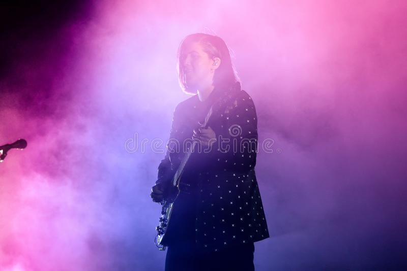 The XX indie music band perform in concert at Primavera Sound 2017. BARCELONA - JUN 2: The XX indie music band perform in concert at Primavera Sound 2017 royalty free stock image