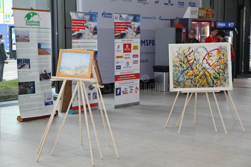 XX Saint Petersburg international economic forum ( SPIEF 2016 Russia ). Exhibition of paintings by Fyodor Konyukhov. 17.06.2016 SPIEF Russia. of the forum royalty free stock photos