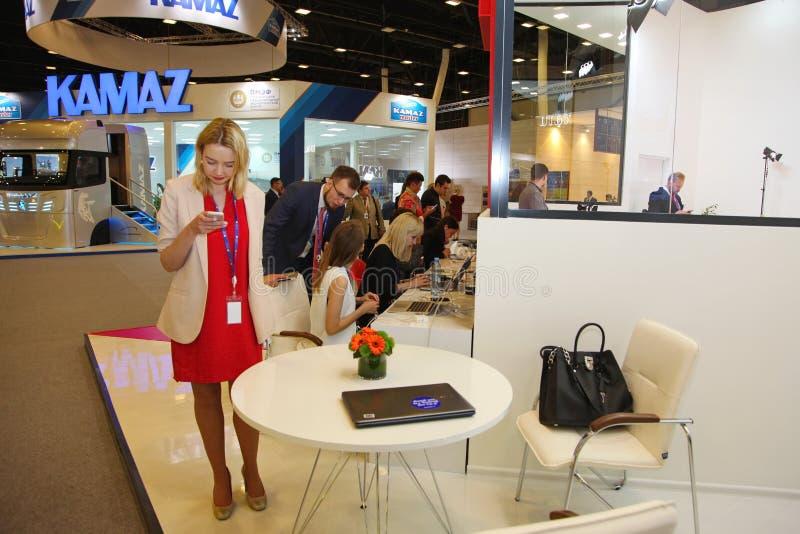 XX Saint Petersburg international economic forum ( SPIEF 2016 Russia ). stand online publications and news service port. 17.06.2016 SPIEF Russia. Interior design stock image
