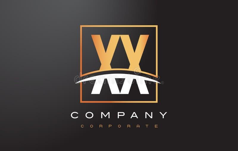 XX x X letra de oro Logo Design con el cuadrado y Swoosh del oro stock de ilustración