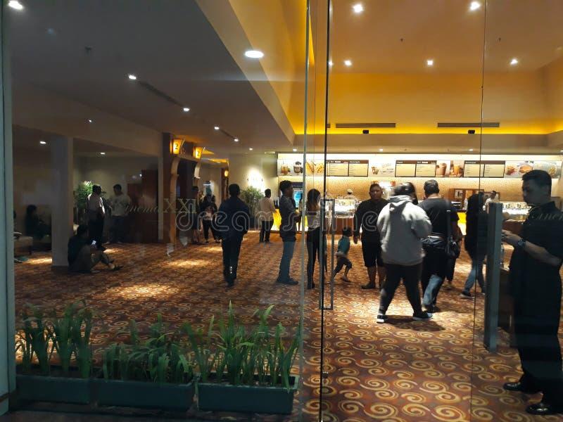 XXI在购物中心里面的戏院 21个戏院是第二大戏院链子在印度尼西亚 免版税库存图片