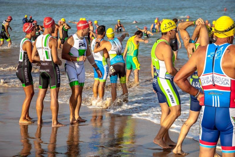 XXI triathlon Herbalife Villa de Rota royaltyfri foto