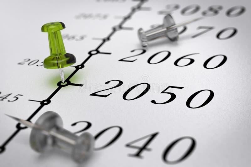 XXI wiek linia czasu, rok 2050 ilustracji