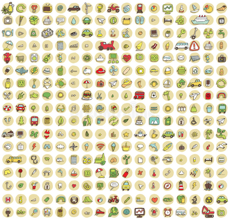 XXL Collection of 289 doodled icons for every occasion No.4 stock illustration