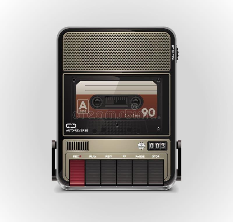 xxl för vektor för kassettsymbolsregistreringsapparat stock illustrationer