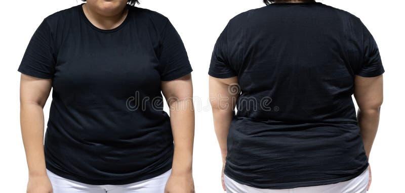 xxl Größenfrau in schwarzer T-Shirt Schablone für grafisches desig lizenzfreies stockbild