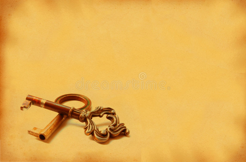 XXL image of two old keys with retro copy space stock images