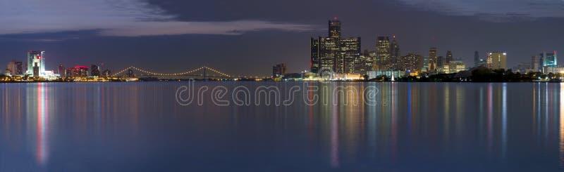 XXL Panorama of the Detroit Windsor Skyline stock photos