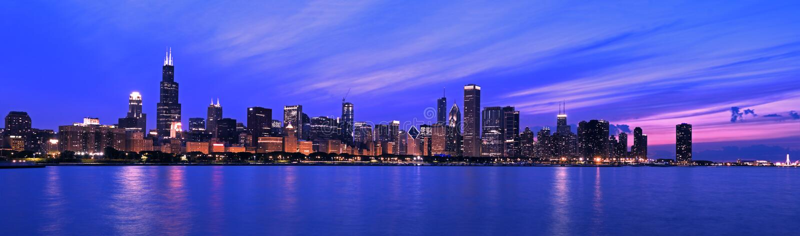 XXL - Panorama famoso de Chicago fotografía de archivo libre de regalías