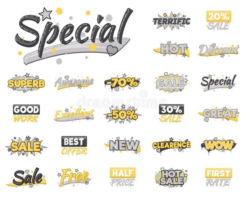 XXL-reeks artistieke verkoop, korting, aanmoedigingsvoltooiing en reclamestickers royalty-vrije illustratie