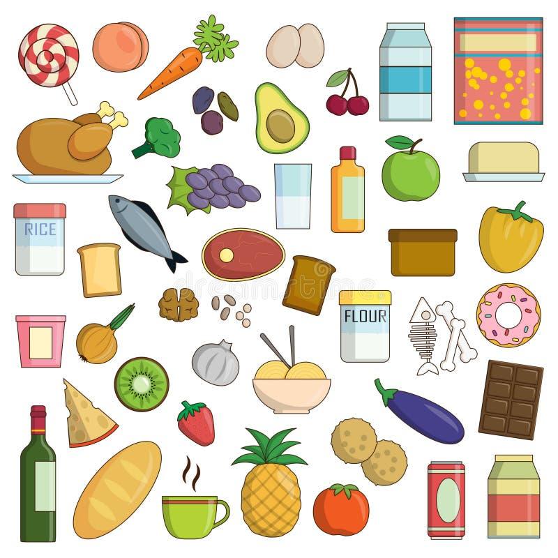 XXL-samling av mat- och drinksymboler royaltyfri illustrationer